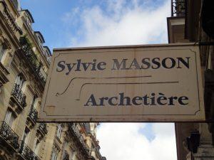 Enseigne de l'atelier de Sylvie Masson, Paris, juin 2016