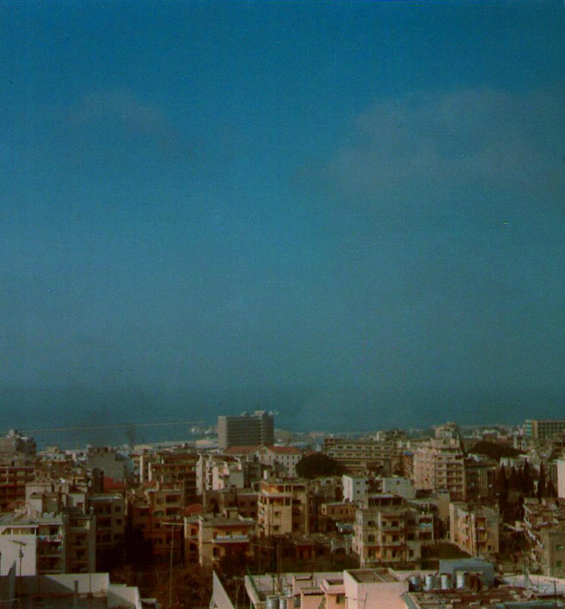 Vue sur Beyrouth depuis l'appartement des Métraux en 1975, photographie de France Métral, diffusé sur les carnets de la Phonothèque avec son autorisation.