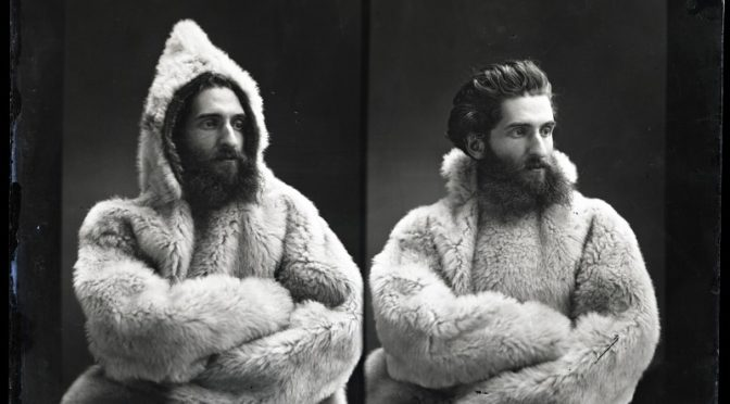 "Portrait of Unidentified Male Smithsonian Institution Archives - Stereograph portrait of unidentified Smithsonian staff member modeling a hooded fur coat from Anthropology collections. From 8"" x 10"" glass negative"