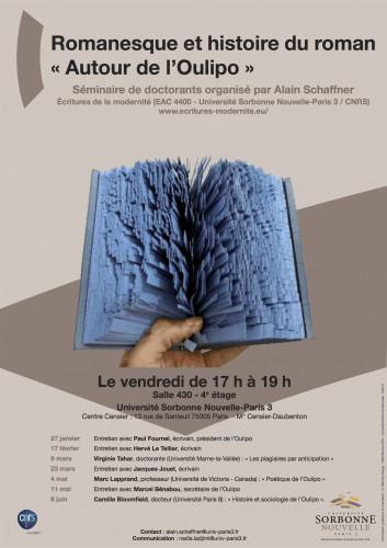 """Affiche du séminaire """"Autour de l'Oulipo"""""""