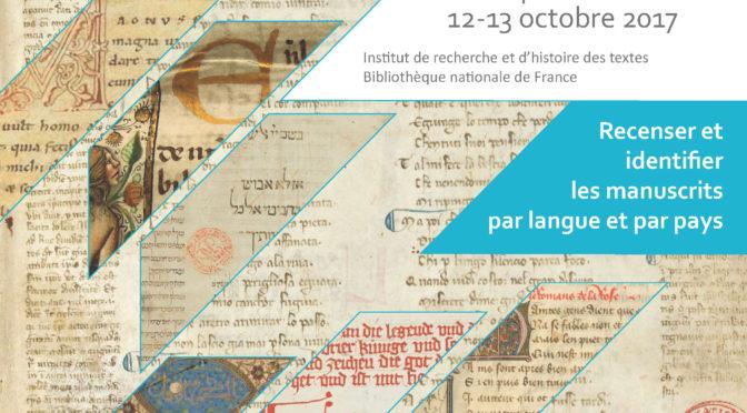 CENSUS. Recenser et identifier les manuscrits par langue et par pays, jour 2
