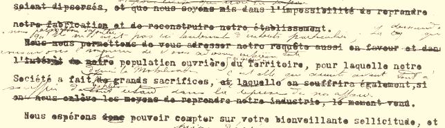 Lettre dactylographiée de M. Meng, corrigée par M. de Place (31 juillet 1917, page 3)