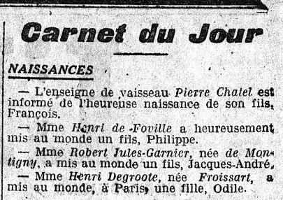 Annonce de la naissance d'Odile Degroote dans l'Écho de Paris (23 mars 1917)