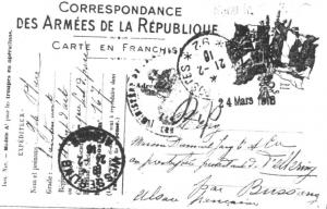 Une carte postale militaire en franchise, 21 février 1916 (la correspondance est au verso)