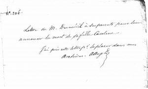 La lettre absente (6 septembre 1811)