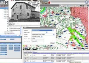 Fig. 2. Il WebGIS SIMART. Elaborazione relativa ai casali del foglio 24 della Carta dell'Agro Romano.
