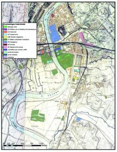 Fig. 6. Gli elementi di archeologia industriale posizionati sul Piano Topografico di Roma I.G.M. 1:5.000 (1907-1924).
