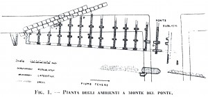 Fig. 3 - Pianta delle strutture rinvenute a monte di Ponte Sublicio (da Gatti 1936)