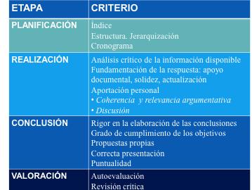 Figura 3. Propuesta de criterios para la valoración de la resolución de un caso