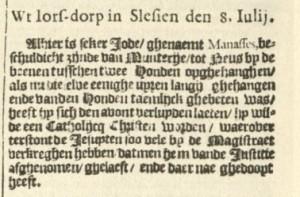 News from Iors-dorp, detail. Taken from: Broer Jansz. Tijdinghen uyt verscheyde Quartieren, Amsterdam: 27.07.1624 (Dahl No 125).