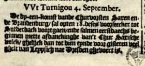 News from Turnigou, detai. Taken from:  Broer Jansz. Tijdinghen uyt verscheyde Quartieren, Amsterdam: 17.09.1622 (Dahl No 106).