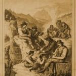 Italienische Arbeiter an der Brennerbahn. Nach der Natur gezeichnet von M. Schmid. In: Die Gartenlaube. Illustriertes Familienblatt No. 1 (1866), S. 13.