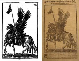 links: Melchior Lorck: Wolgerissene und Geschnittene Figuren. Hamburg: Hering, 1626, S. [46]. rechts: Türckis. Estats- und Krieges-Bericht Nr. 7. Hamburg: Thomas von Wiering, 1683, S. [1]v.