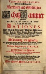Werner Eberhard Happel: Thesaurus Exoticorum. Hamburg: Thomas von Wiering, 1688. Titelblatt.