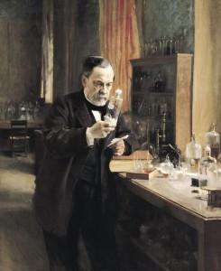 Louis Pasteur (1822-95) dans son laboratoire, 1885 (huile sur toile)