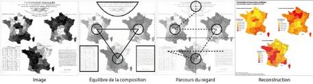 Exemple de méthode de description formelle appliquée à un document cartographique (dessins de l'auteur)