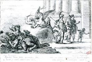 CROIZAT Ambroise, L'Etablissement de l'Ecole de dessin, eau-forte d'après la miniature capitulaire d'Antoine Rivalz, 1726, 0,193 x 0,29 cm, Toulouse, Musée Paul-Dupuy, Inv. 55-97-7, cliché Daniel Molinier.