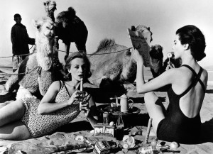 William Klein Tatiana and Marie Rose Camels Picnic Morocco 1958