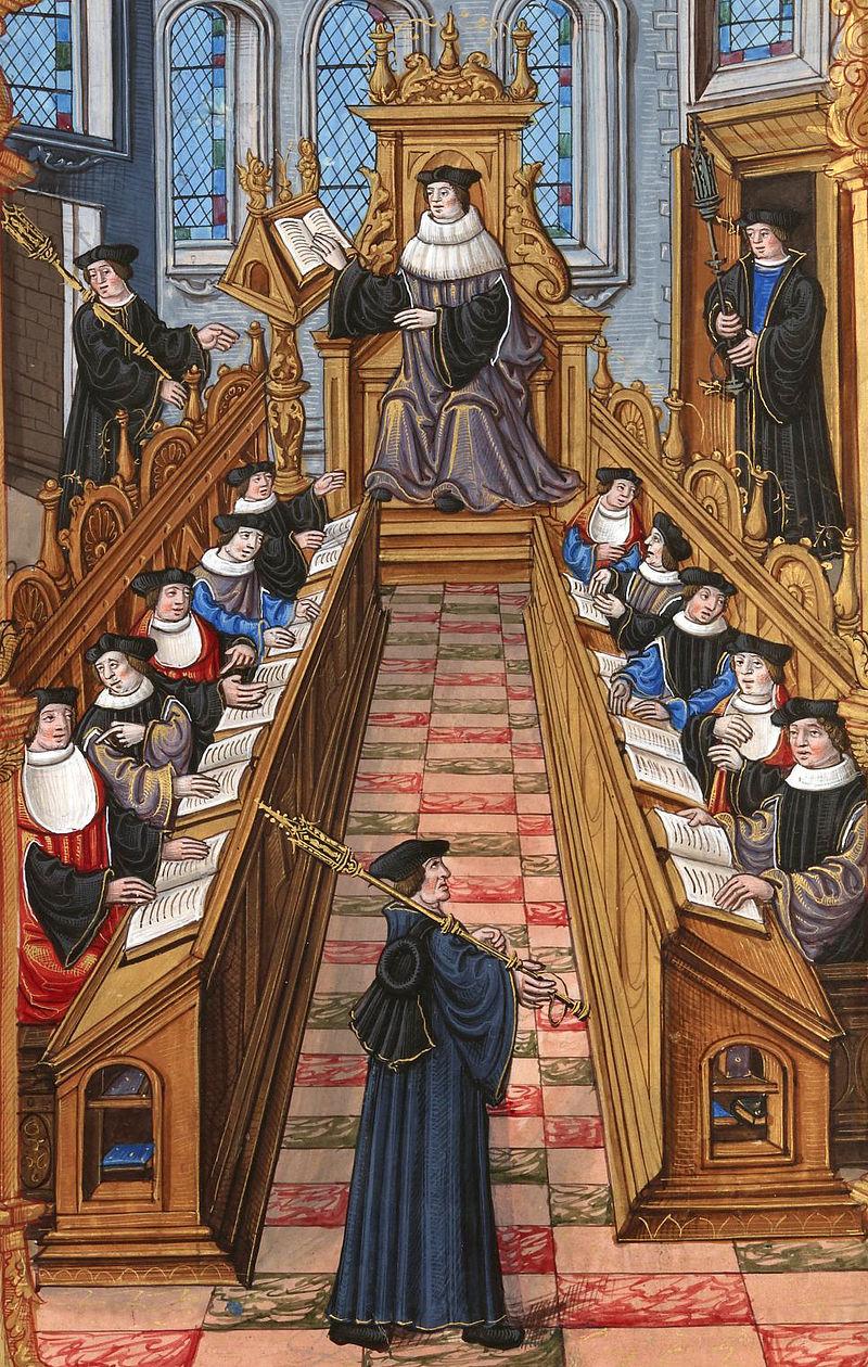 Réunion de docteurs à l'université de Paris durant le Moyen Âge. CC Wikimedia Common