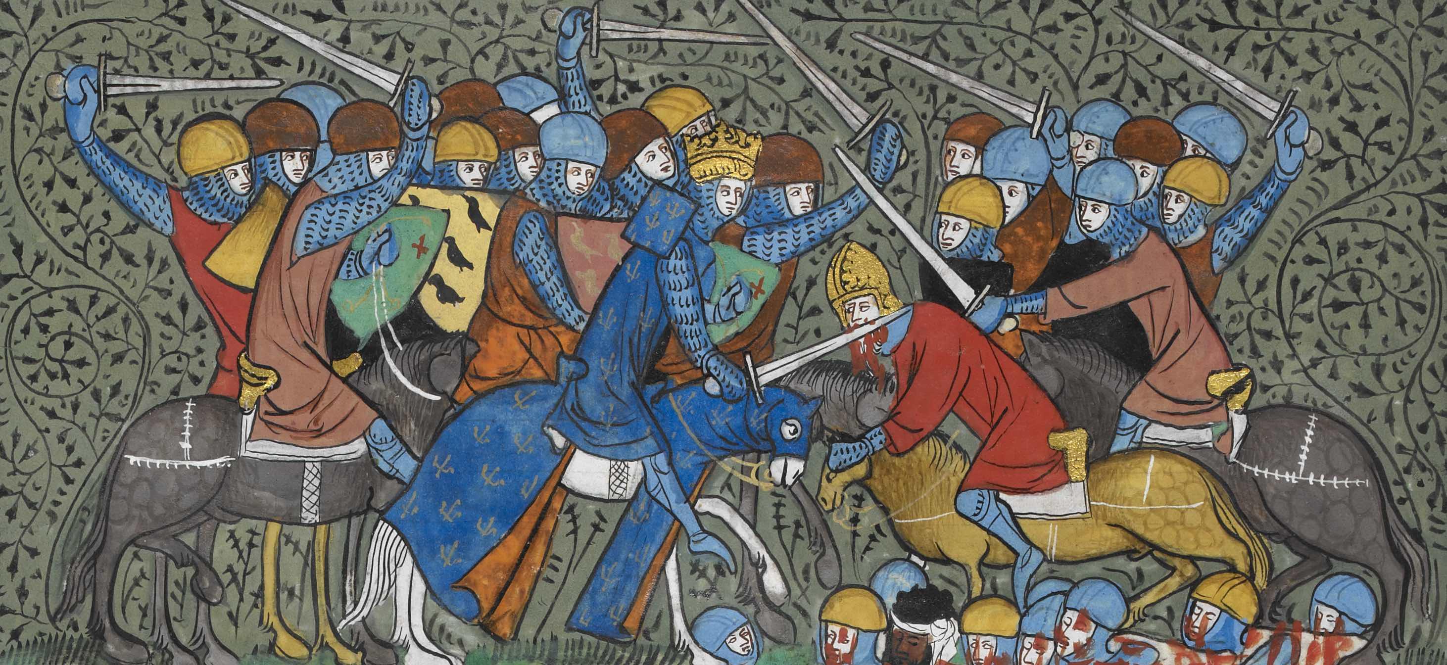 «Bataille de Poitiers», Grandes Chroniques de France, milieu du xive siècle, BL ms. Royal 16 G VI, folio 117 verso