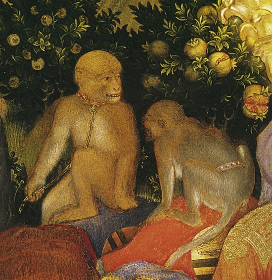Two apes with red collars, chains and belts. Detail from Gentile da Fabriano, Adoration of the Magi, 1423. Tempera on wood. 173 × 200 cm. Florence, Offices, Inv. 1890 n. 8364.