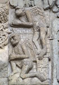 1.Winged Ape-Devil in the Temptations of Christ. Puerta de las Platerías. Catedral de Santiago de Compostela (Spain). c. 1101-1111. Photo credit: Fco. De Asís García García.