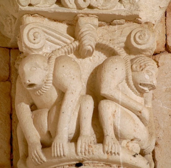 1.Crouching Apes in Chains. Capital in the apse of the Church of San Quirce, Burgos (Spain). First half of the 12th century. Photo credit: Fco. De Asís García García.