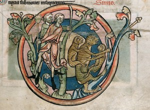 Mother Ape with Young Pursued by Hunters. Bestiary. Salisbury (?) (England). Second half of the 13th century. London, The British Library, Ms. Harley 4751, fol. 11r.