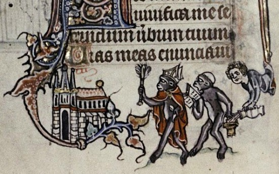 1.Apes Parodying the Church. Psalter. Ghent (Flanders). ca. 1320-1330. Oxford, the Bodleian Library, Ms. Douce 6, fol. 17v.