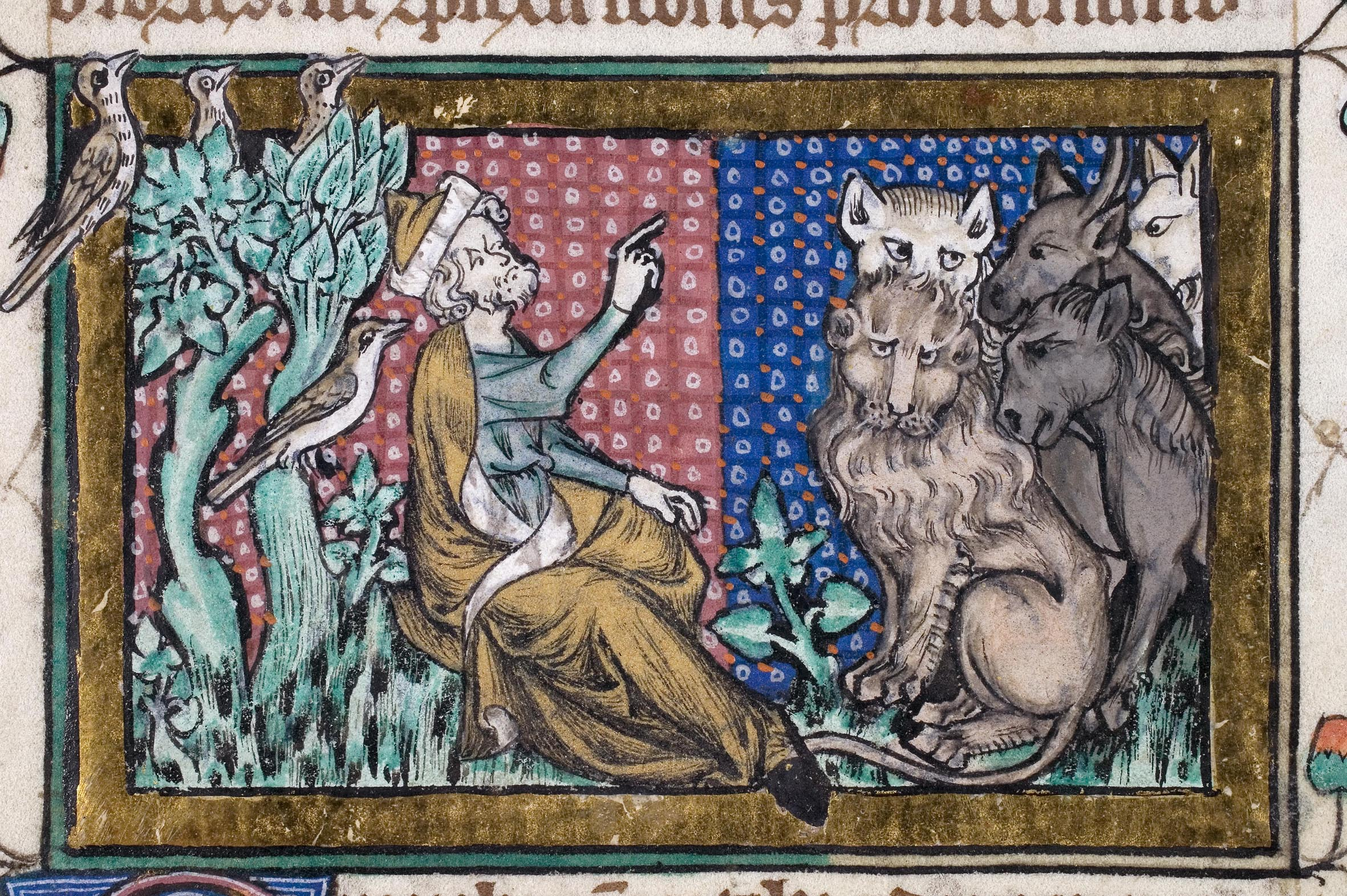 Adam naming the animals of the world, from the Peterborough Bestiary (MS 53, f. 195v)
