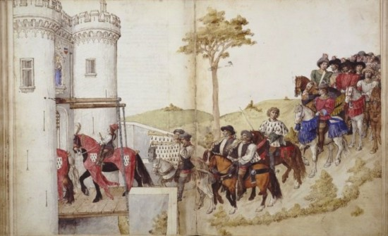 The Duke of Brittany and his knights entering the town, preceded by the destriers' parade,  Barthélémy d'Eyck, King René's Book of Tournaments, c. 1460-65, Bibliothèque nationale de France, c. 1465, Ms français 2695, ff. 51v-52r  © BnF