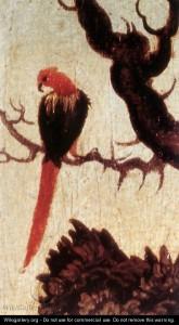 Fig. 7. Detalle papagayo en el Retrato de Ana Cuspian, Lucas Cranach. 1503.