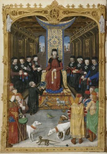 Fig. 5 .Obsidionis Rhodiae urbis descriptio 1483. París, Biblioteca Nacional de Francia. Ms. Lat 6067, fol. 3v.