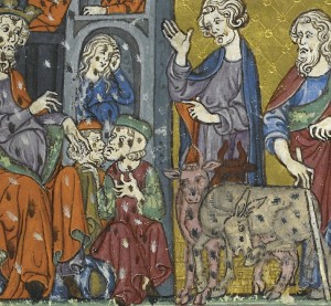 Plague of lice. Golden Haggadah, Catalonia, 2nd quarter of the 14th century (British Library, Additional 27210, f. 12v).