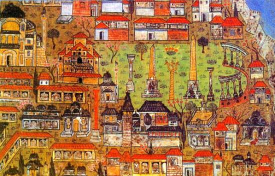 Matrakci Nasuh, Constantinople, Hagia Sophia and the  Hippodrome, 1536