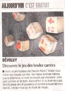 Coupure de presse du Dauphiné Libéré