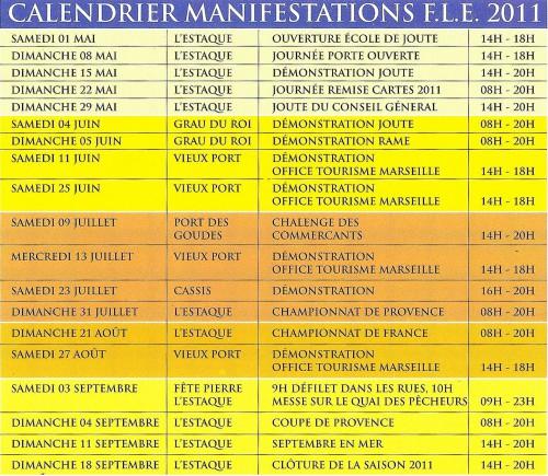 Calendrier des compétitions, fourni par Marie-Véronique Amella