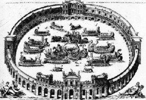 Représentation baroque de la naumachie antique, photographie fournie par Marie-Véronique Amella