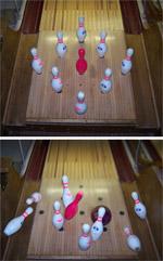 Quilles, disposition et chute lors d'un lancé, photographie du site www.bulverdebowlingclub.com