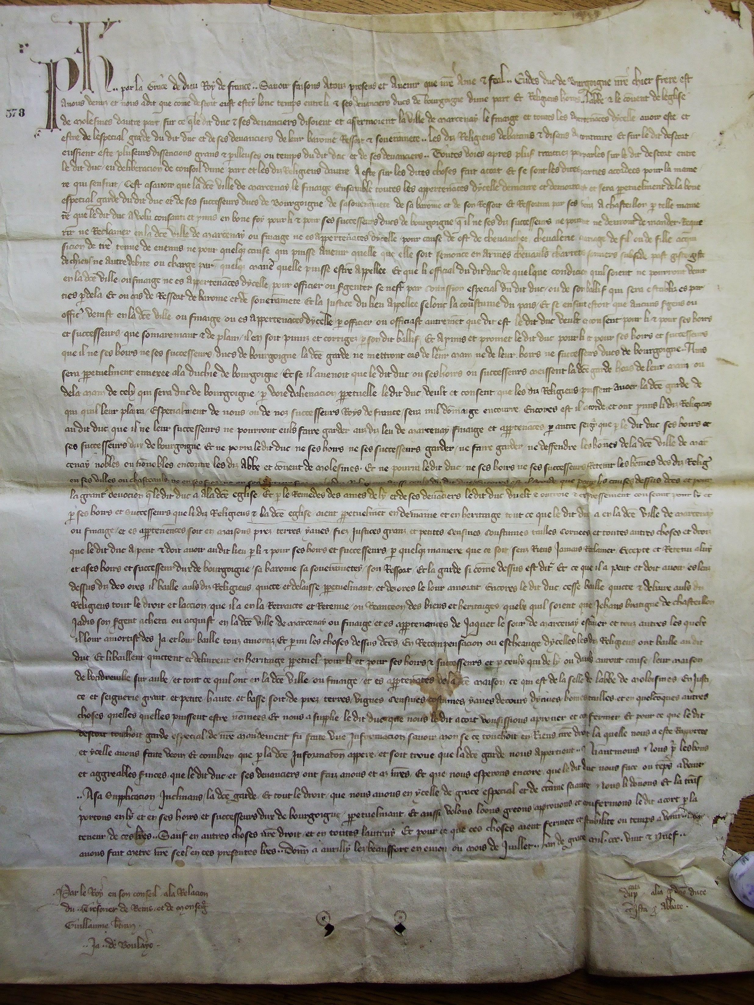 Dijon, Archives départementales Côte d'Or, 7 H 578 (acte de 1329)