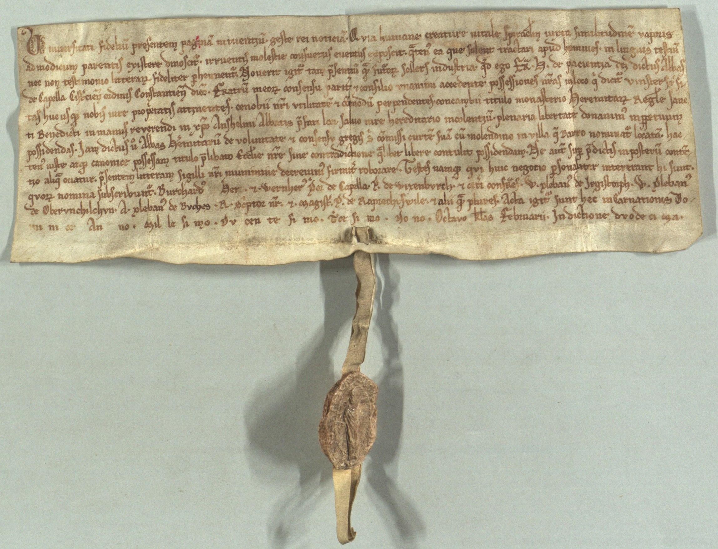 Einsiedeln, Klosterarchiv Einsiedeln, Urkunde Nr. 100 (KAE, W_A_2)