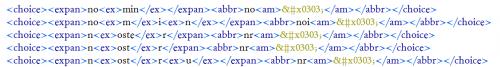 Encodage des abréviations avec les éléments <choice>, <expan>, <ex>, <abbr> et <am>