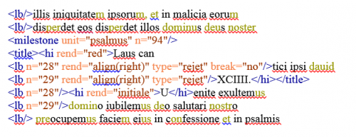Exemple de rejet : transcription avec coloration syntaxique