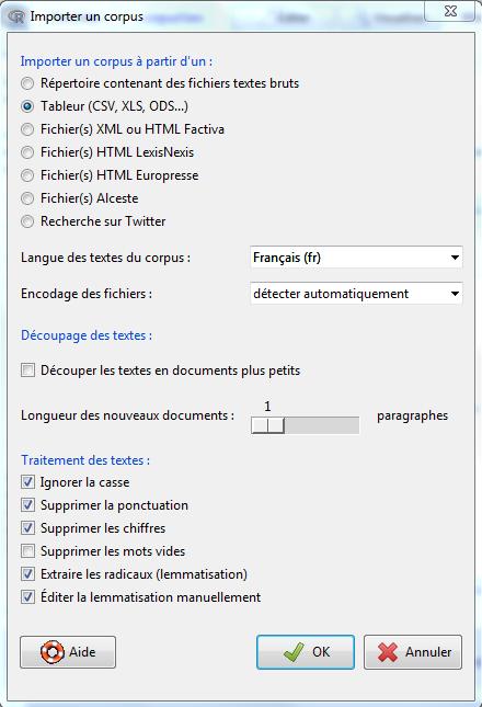 Fig. 2 - La boîte de dialogue d'imporation de corpus