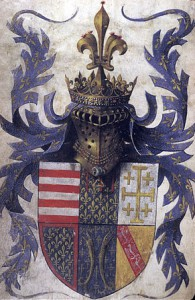Barthélemy d'Eyck, The arms of René d'Anjou (London, BL, Egerton 1070, fol. 4v)