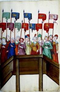 Die versammelten Standartenträgerinnen der 12 Turniergesellschaften (Konstanz, Rosengartenmuseum, Hs 1971/54, Bd.I, S. 13)