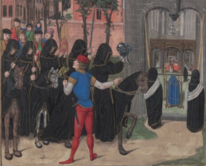 Herold bei Obsequien (New Haven, Ms 230, fol. 182)