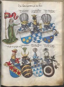 """Dye loblich gesellschafft der Kron im """"Wappenbuch Conrads von Grünenberg, Ritters und Bürgers zu Constanz"""" (München, BSB, Cgm 145, S. 255)"""