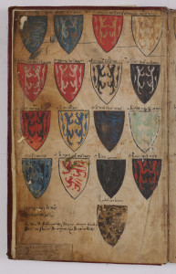 Coats of arms of Priams sons in Armorial Le Breton. Ms. Archives Nationales AE I 25, no. 6 (MM 684) p.1