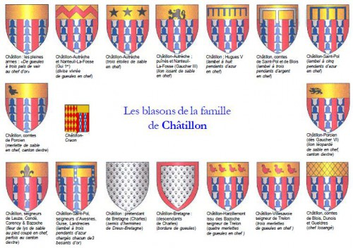The different blazons of the Chatillon family